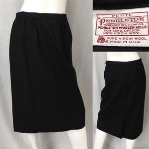 Sz 10 Pendleton Black Wool Below Knee Pencil Skirt